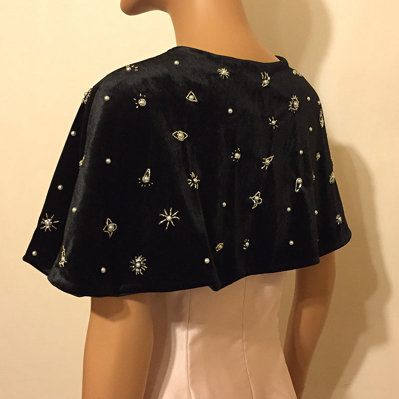 Galaxia Velvet Capelet with Moon and Stars design