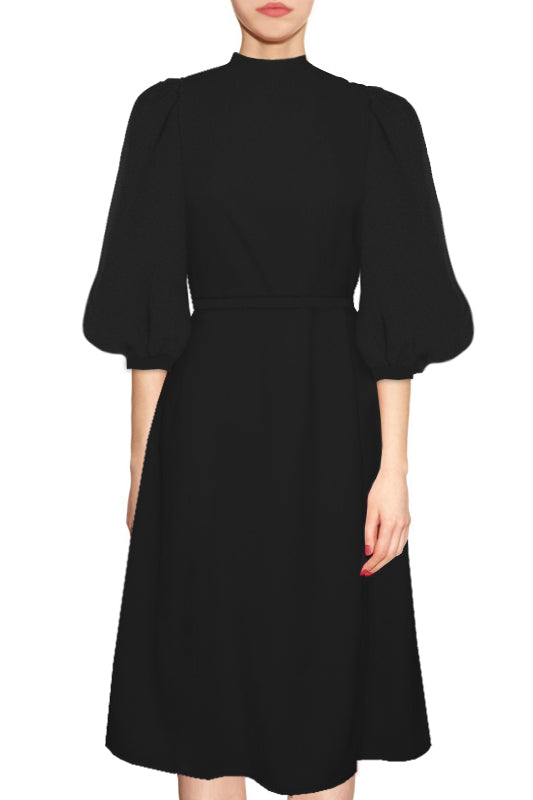 Copenhagen A-line dress with balloon sleeves