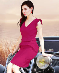 Everett Magenta V Neck Dress