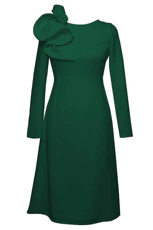 Eyry Green Long Sleeves Midi Dress