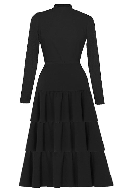Florentine Black Long Sleeves Dress
