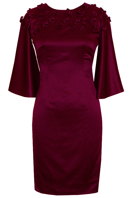 Hali Round Neck Burgundy Dress with Butterfly Sleeves