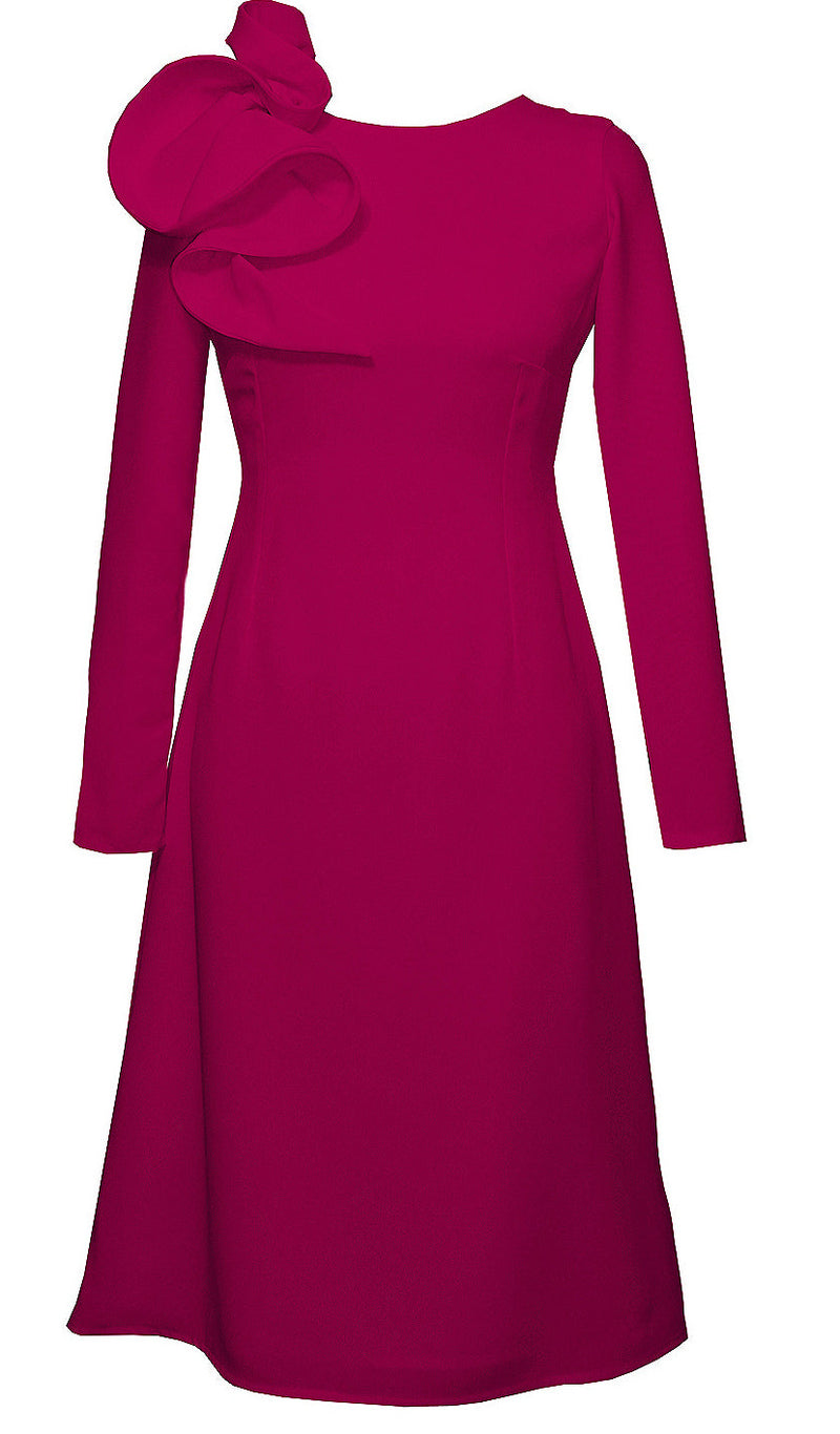 Hot Pink Knee Length Dress - Eyry