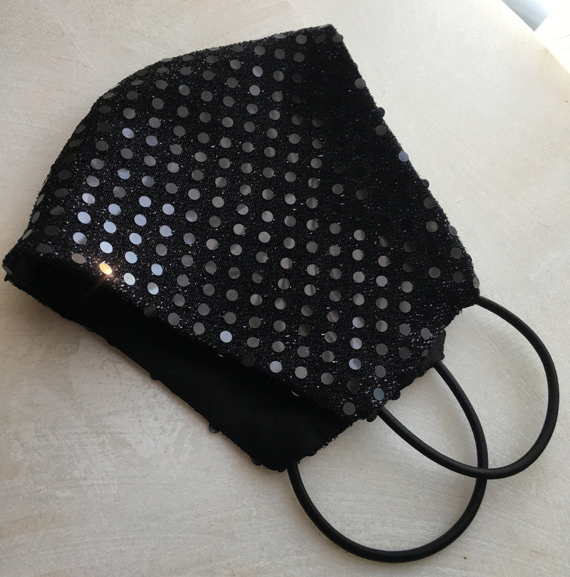Joy Black Sequin Face Mask