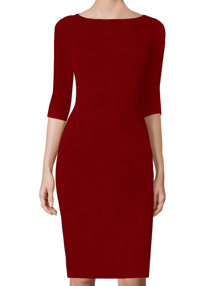 Juliette Red Boat Neckline Sheath Dress