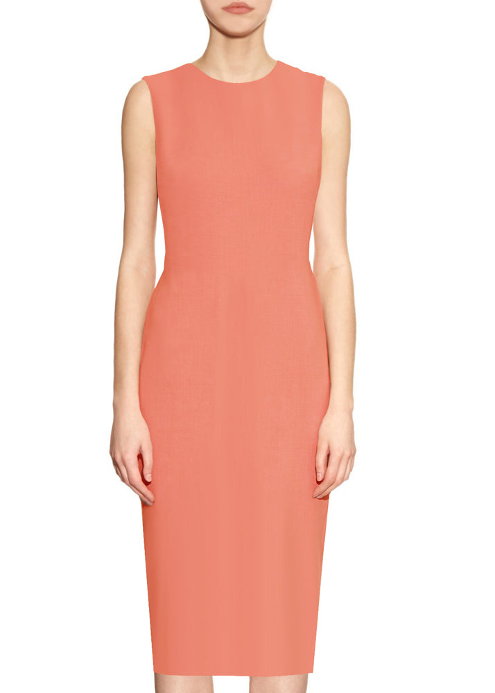 Coral Basic Round Neck Sheath Dress - Krew