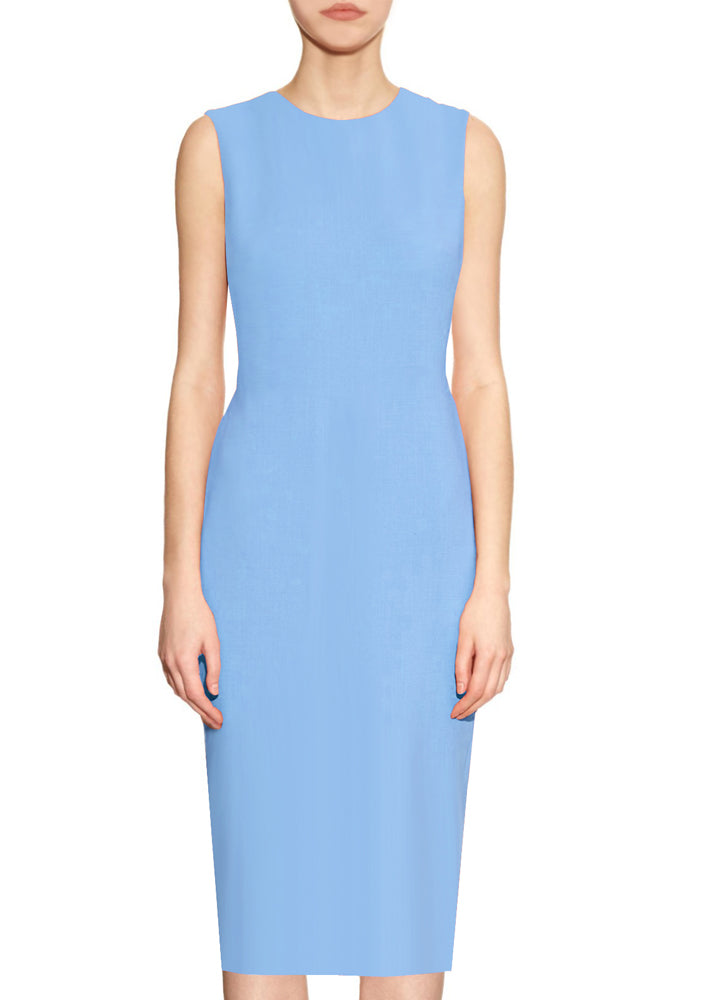 Krew Light Blue Basic Round Neck Sheath Dress
