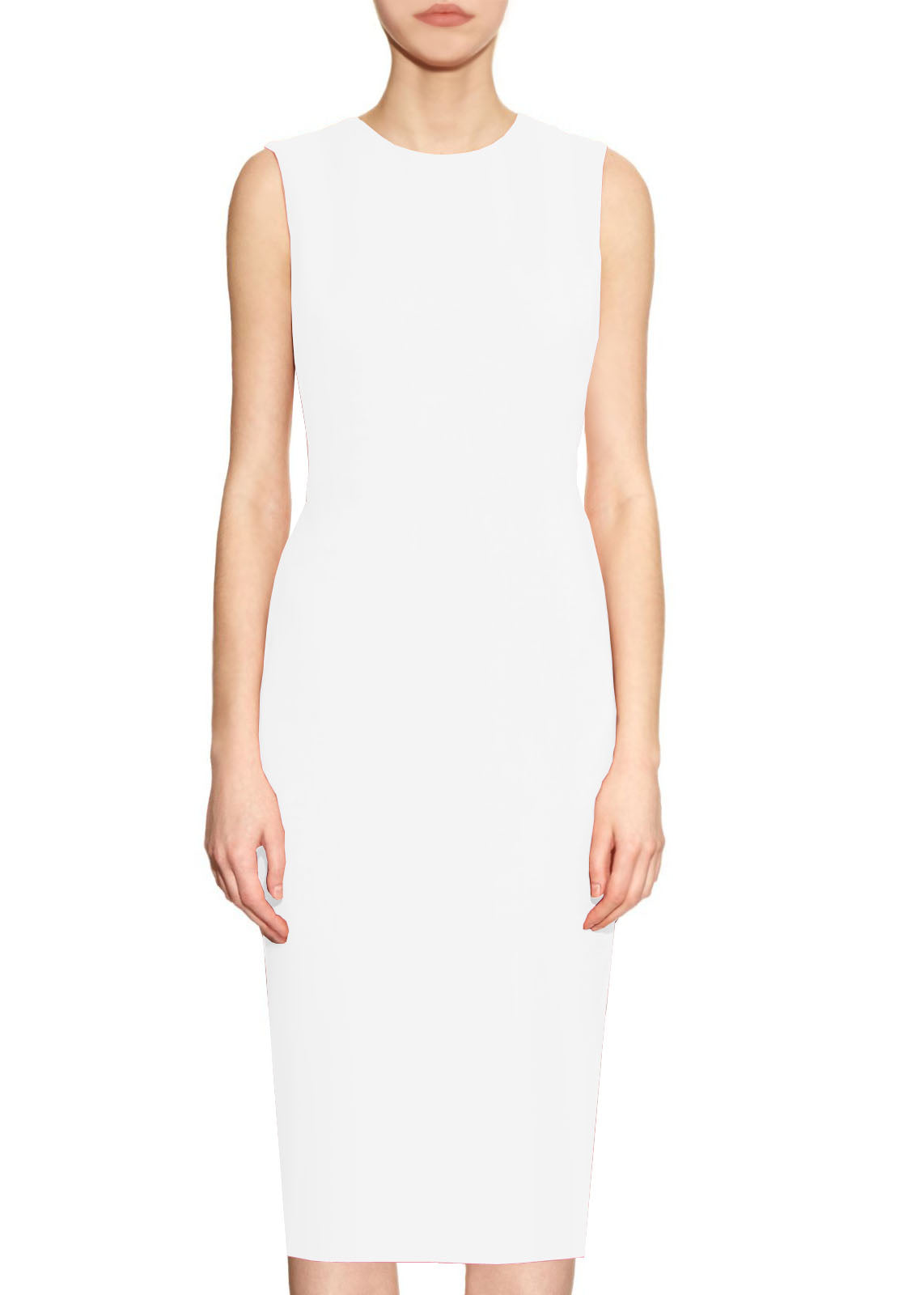 White Basic Round Neck Sheath Dress - Krew