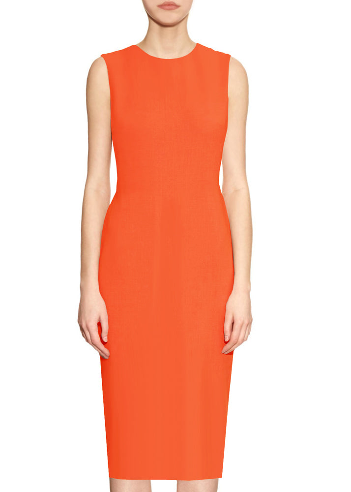 Orange Basic Round Neck Sheath Dress - Krew