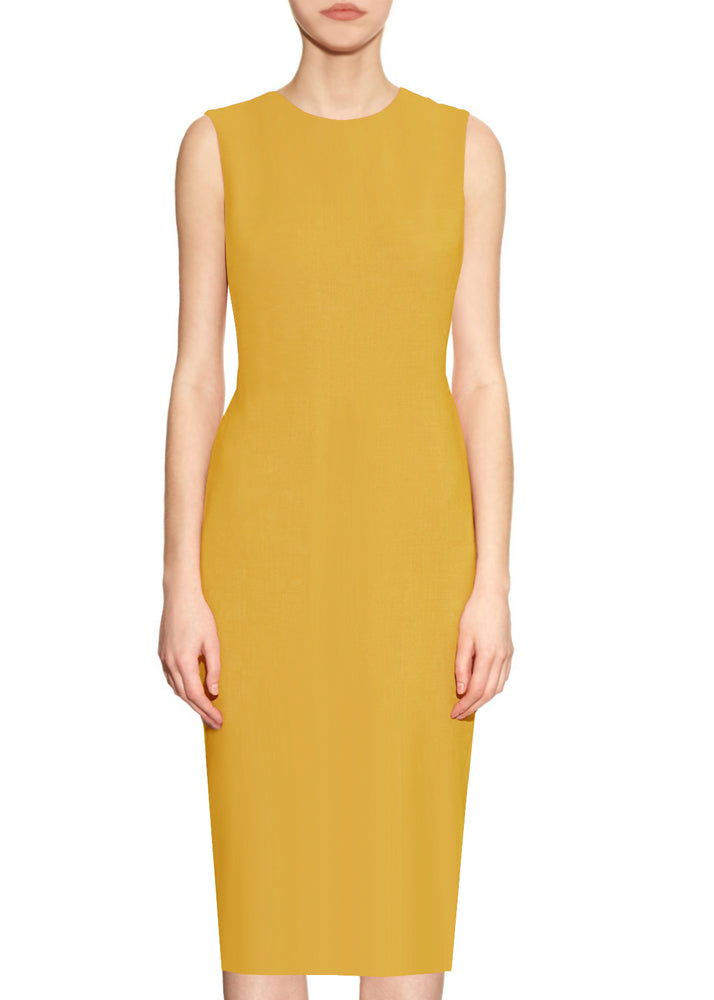 Krew Yellow Sheath Dress - Round neck dress
