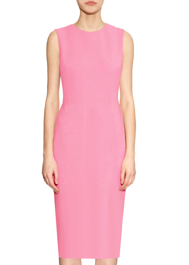 Krew True Pink Round Neck Sheath Dress