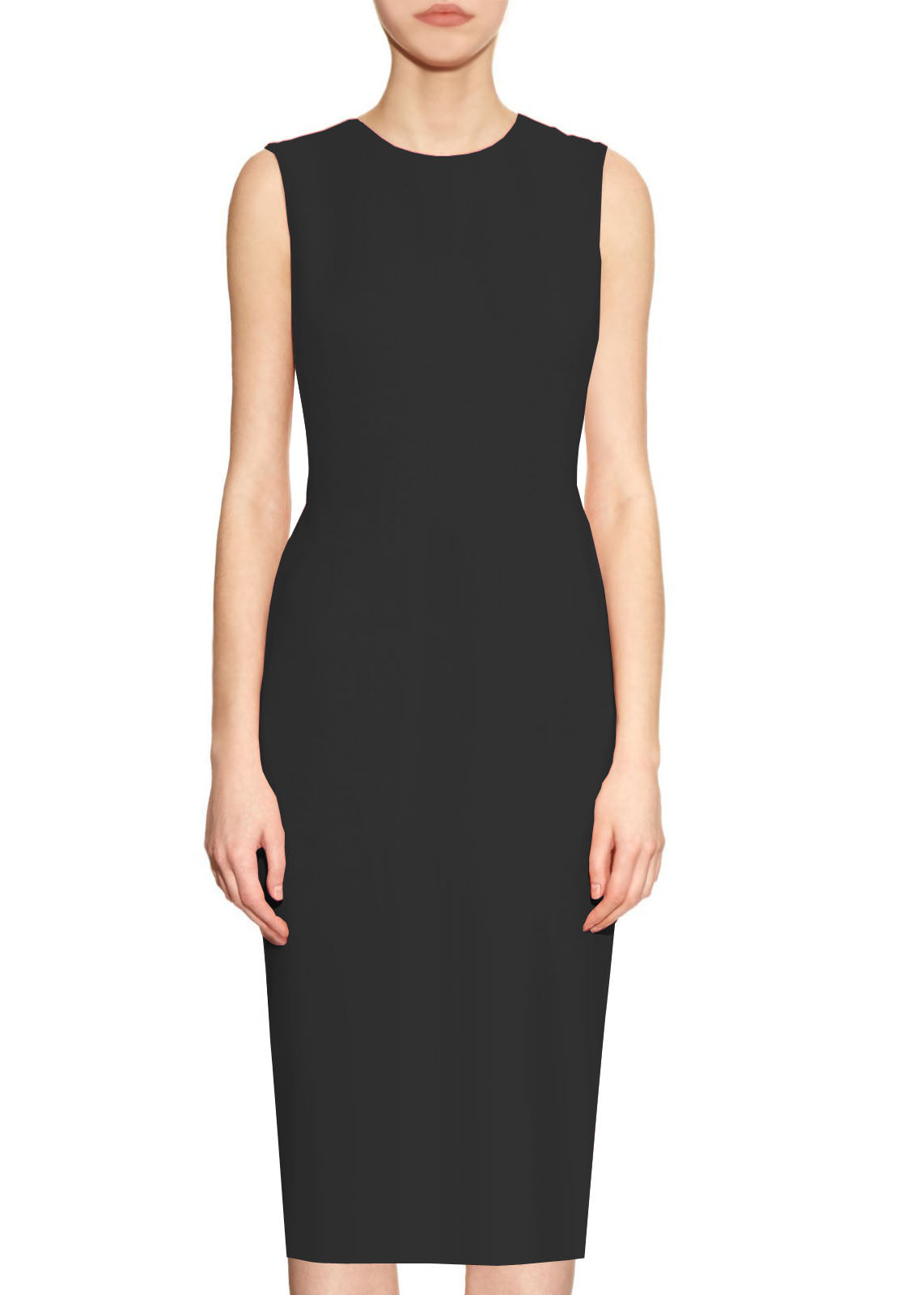 Krew Black Basic Round Neck Sheath Dress