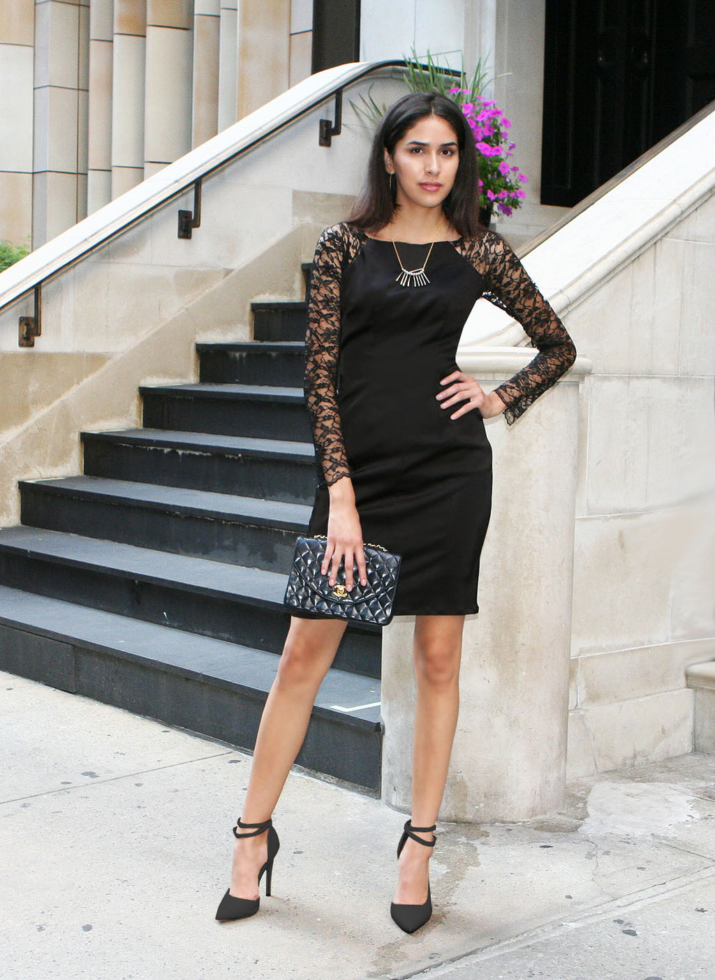 London Lace Sleeve Black Dress
