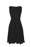Lola Black  Knee Length Chiffon Dress with Full Skirt