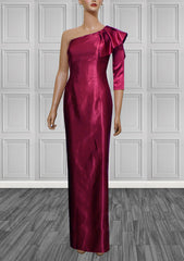 Malaga Rose One Shoulder Gown - Cardinal