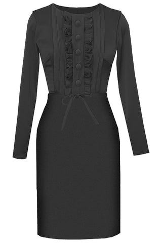 Hali Round Neck Black Dress with Butterfly Sleeves