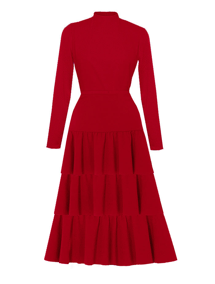 _ Florentine Red High Neck Dress
