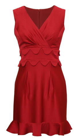 Villa Red V Neck Cocktail Dress