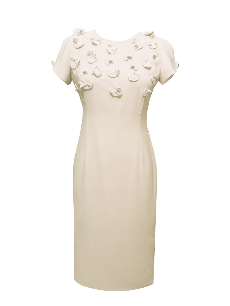 Sicily Sheath Dress with Floral Appliques