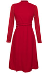 Sierra Red High Neck Midi Dress