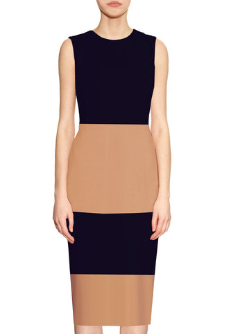 Sutton Beige and Black Sheath Dress
