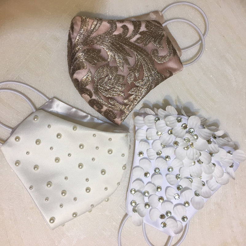 Seraph Petals and Rhinestones Embellished White Face Mask