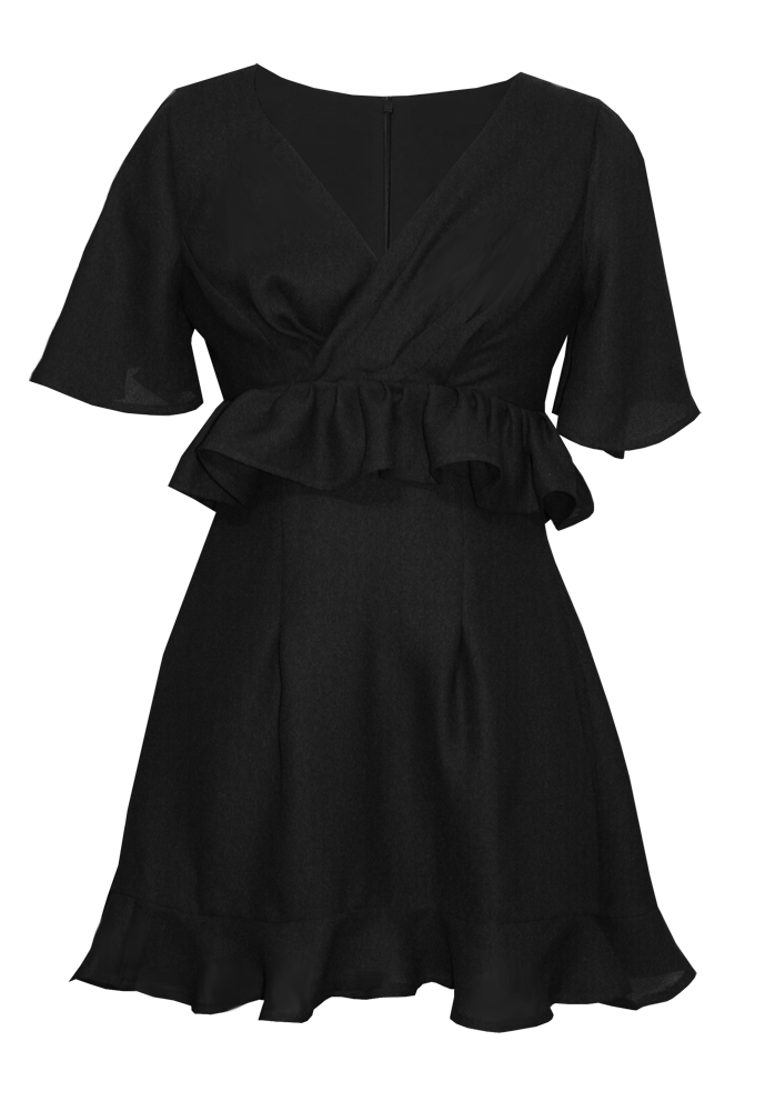 Black Towne Ruffle dress