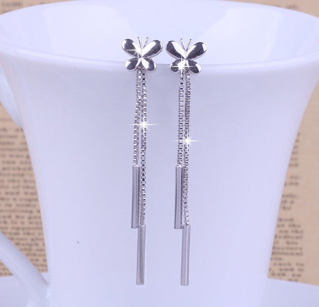 Sterling Silver Earrings with Butterfly