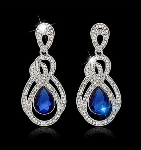 Blue Stone Fashion Earrings - Classy Pink Boutique