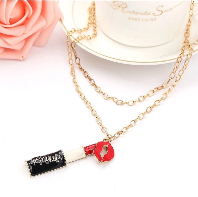 Necklace With Lipstick/Lips Pendants