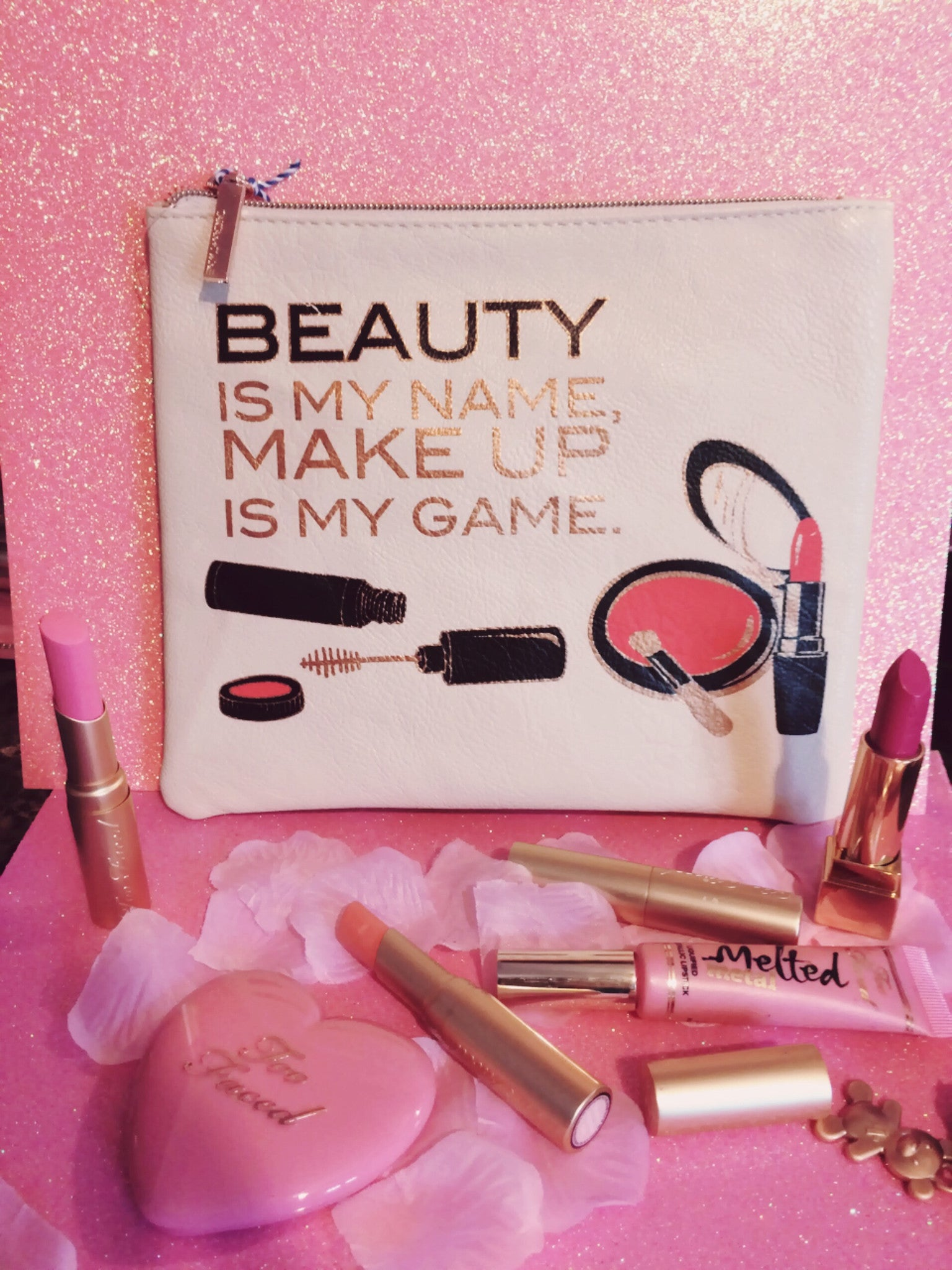 "Makeup Bag White ""Beauty is my name, makeup is my game"""