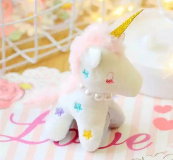 Stuffed unicorn bag charm keychain
