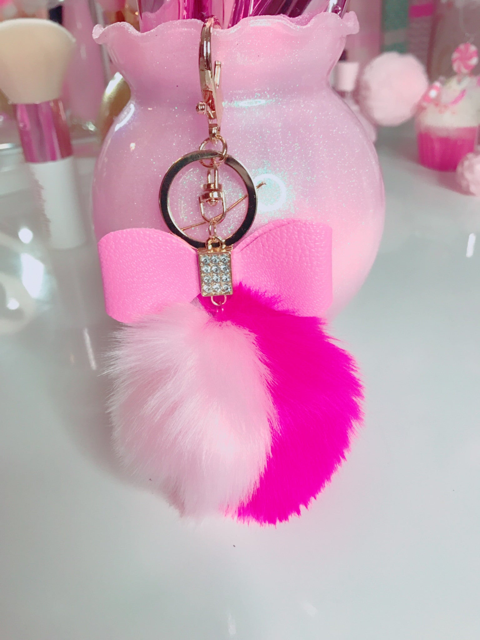 Two color bow pom pom bag charm keychain