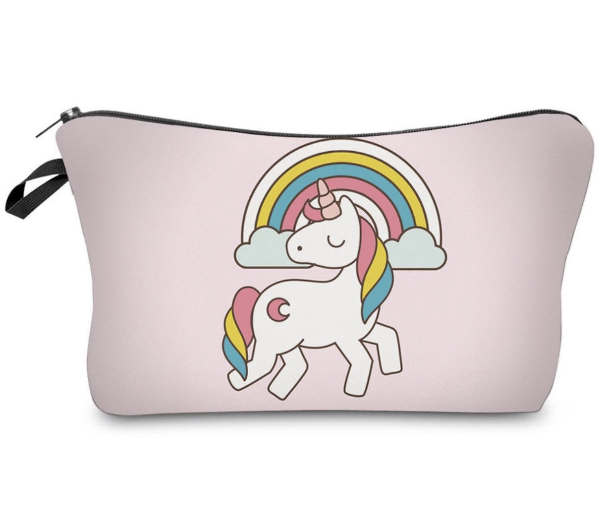 Light pink rainbow unicorn makeup bag