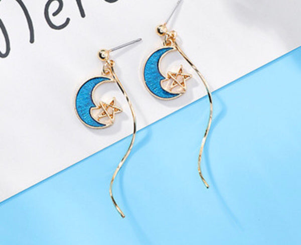 Perfectly gold and blue moon star earrings