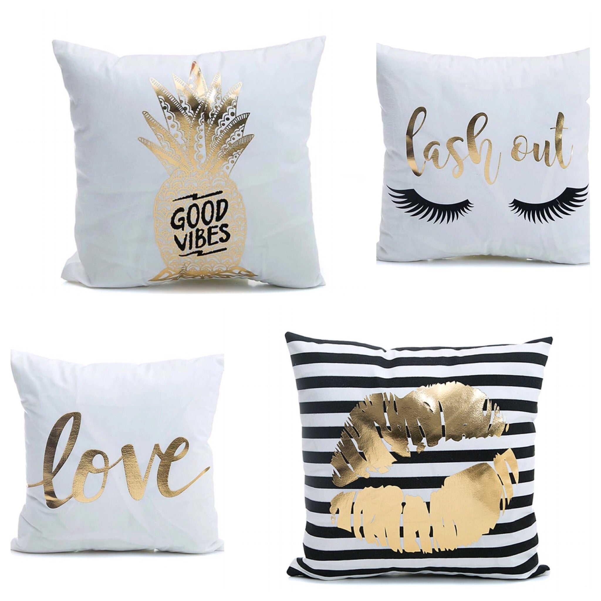 Lash girl pillow case with gold foil