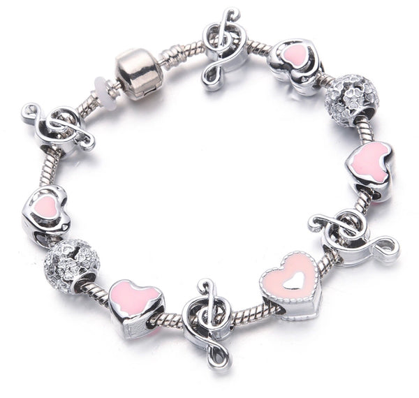 Music notes 🎶 pink charm bracelet