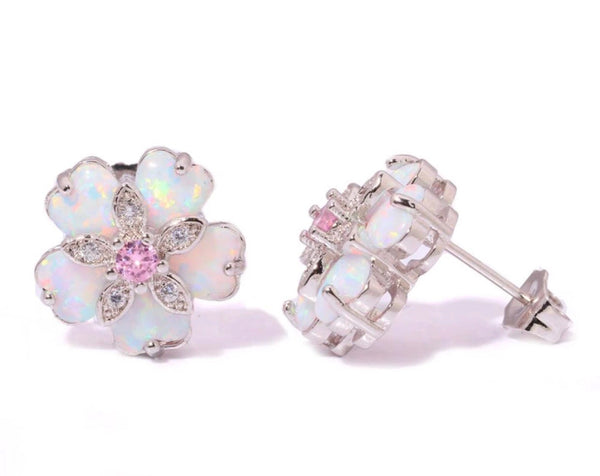 Classy Flower earrings with pink crystal