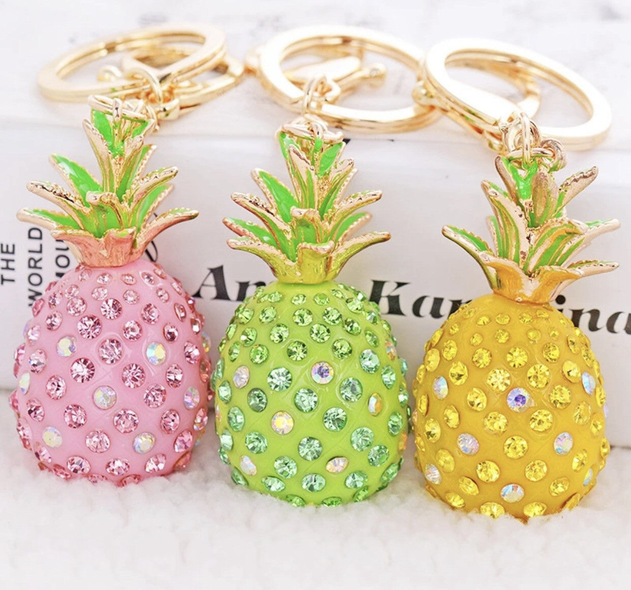 Pineapple bag charm keychain