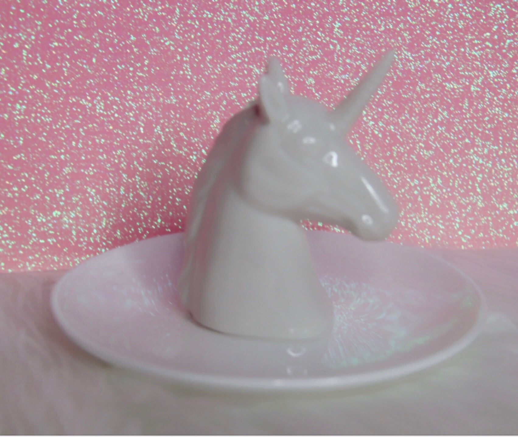 White Unicorn porcelain tray for decor