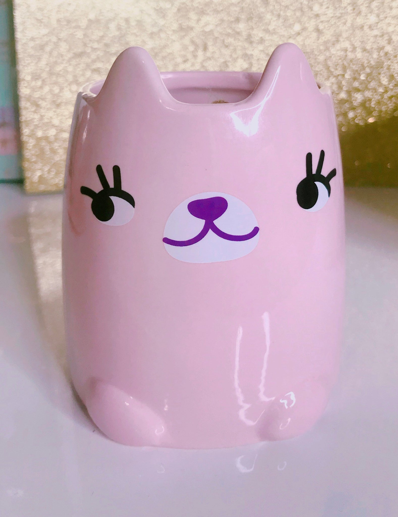 Kitty cat blush pink cup holder - Classy Pink Boutique