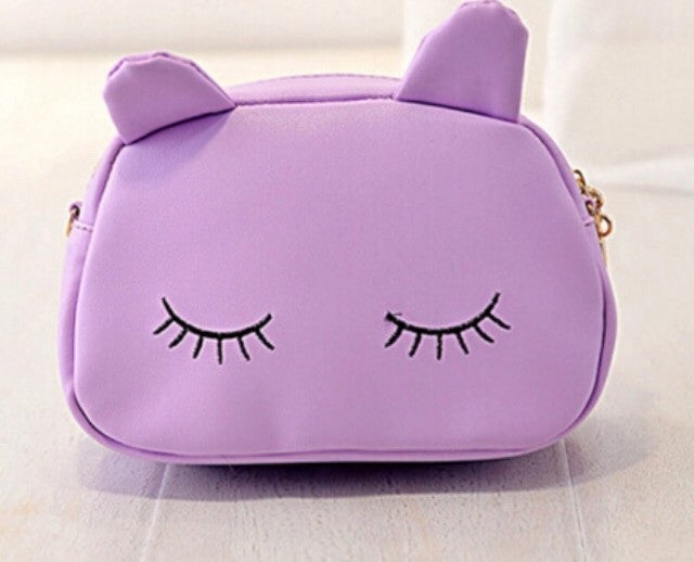 Eyelash kitty shoulder bag or makeup bag - Classy Pink Boutique