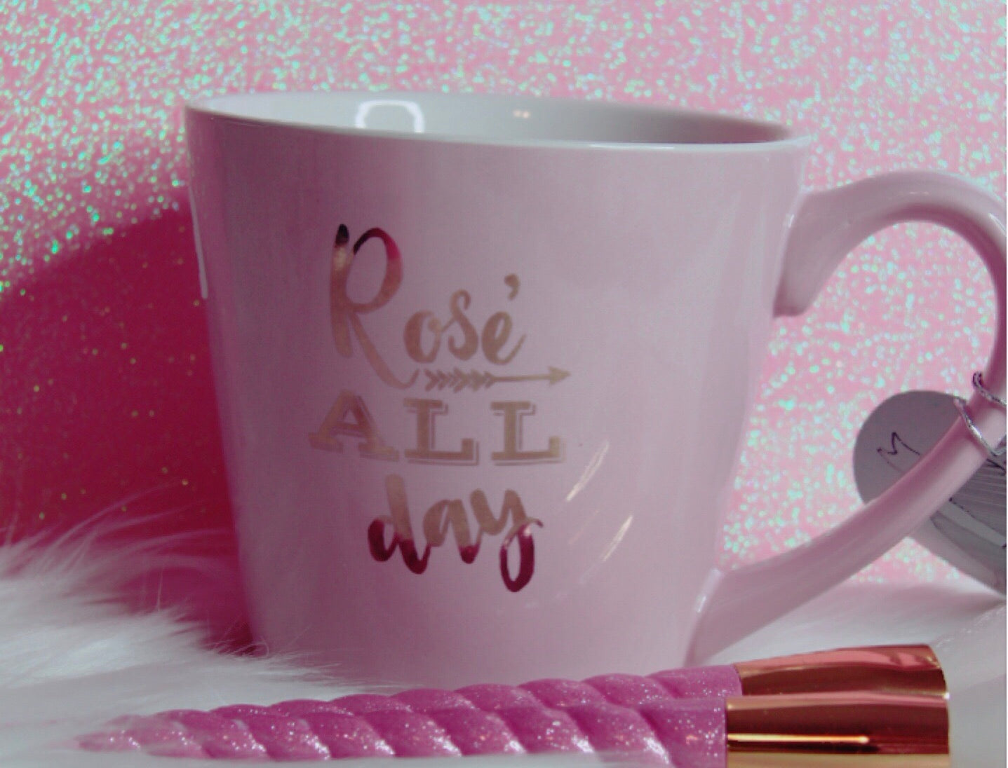 Rose all day light pink mug