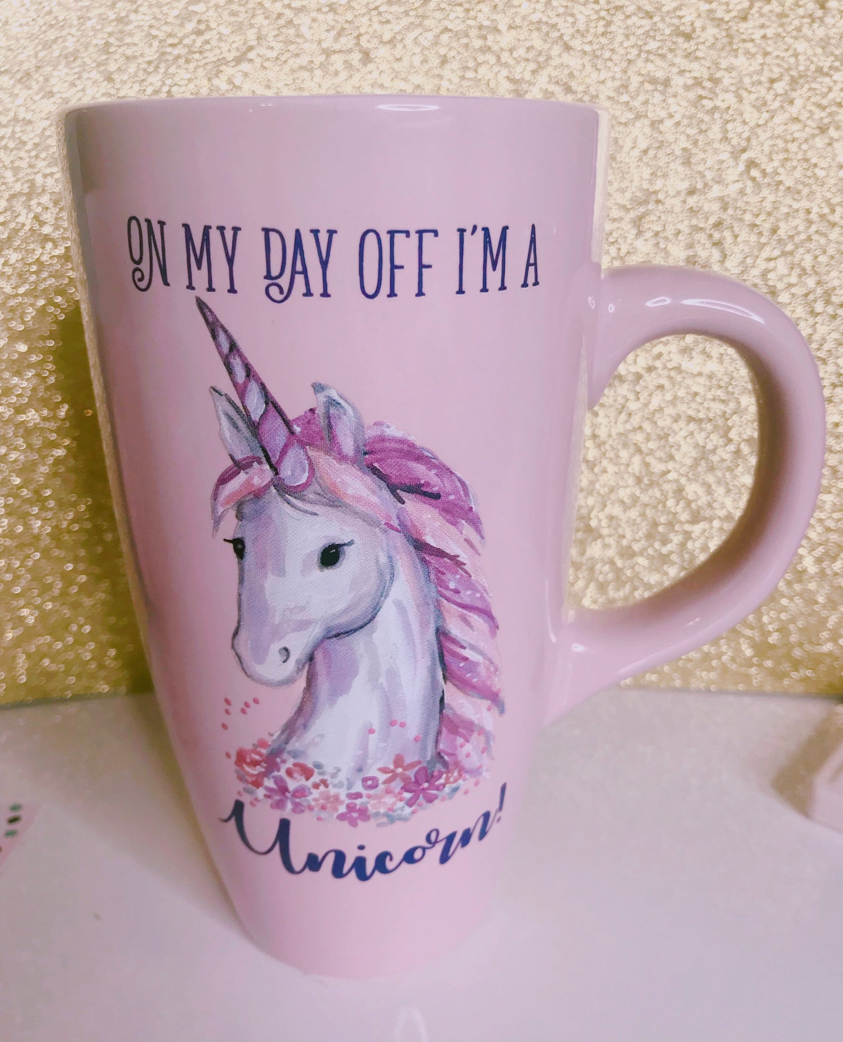 Day Off Unicorn pink mug