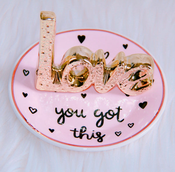Love trinket tray perfectly pink and gold