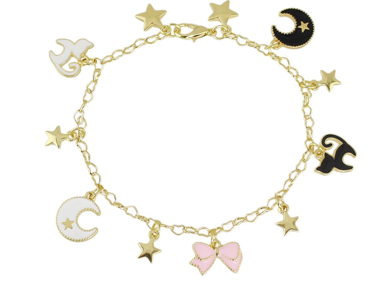 Charm bracelet with cats, stars, and bows