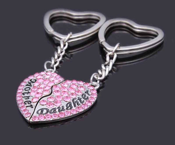 Mother Daughter heart keychain