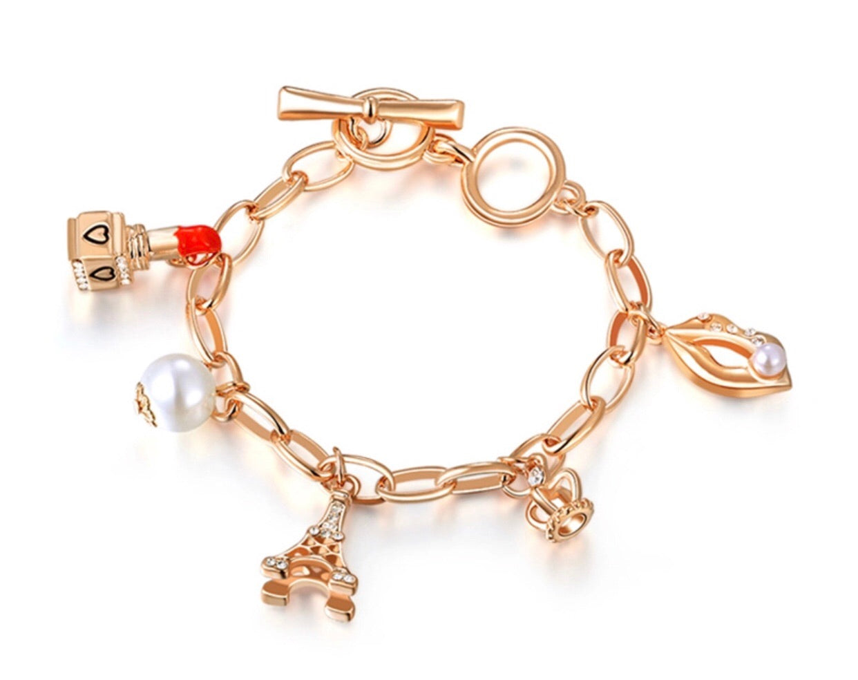 Paris Queen with Lipstick charm bracelet