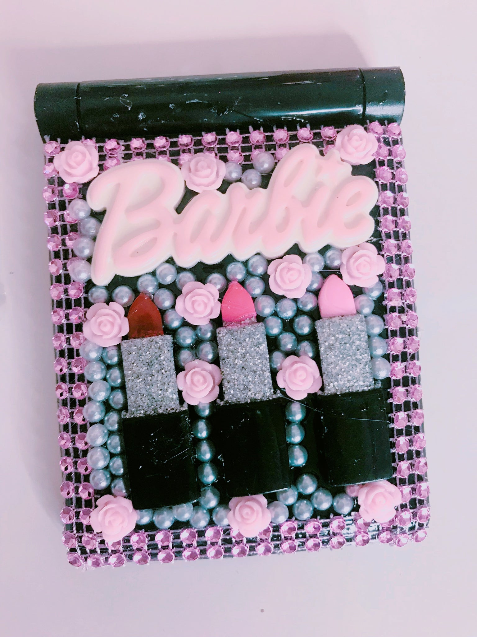 Lipstick Barbie compact mirror with lights