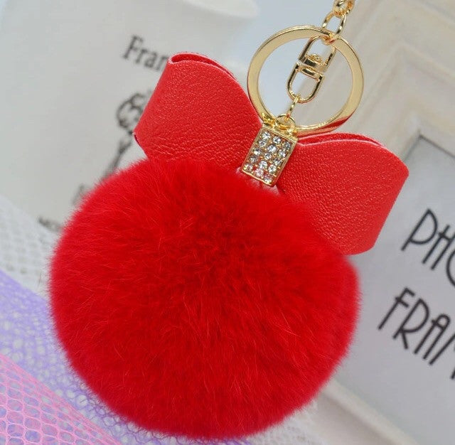 Bagcharm Fur Ball with Bow